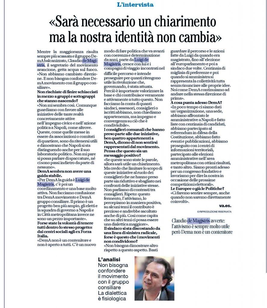 Intervista a Claudio de Magistris, segretario demA